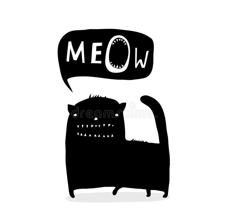 Cat Talk Meow drôle noire d'encre illustration stock