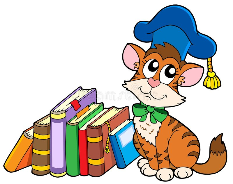 Download Cat teacher with books stock vector. Image of background - 7412943