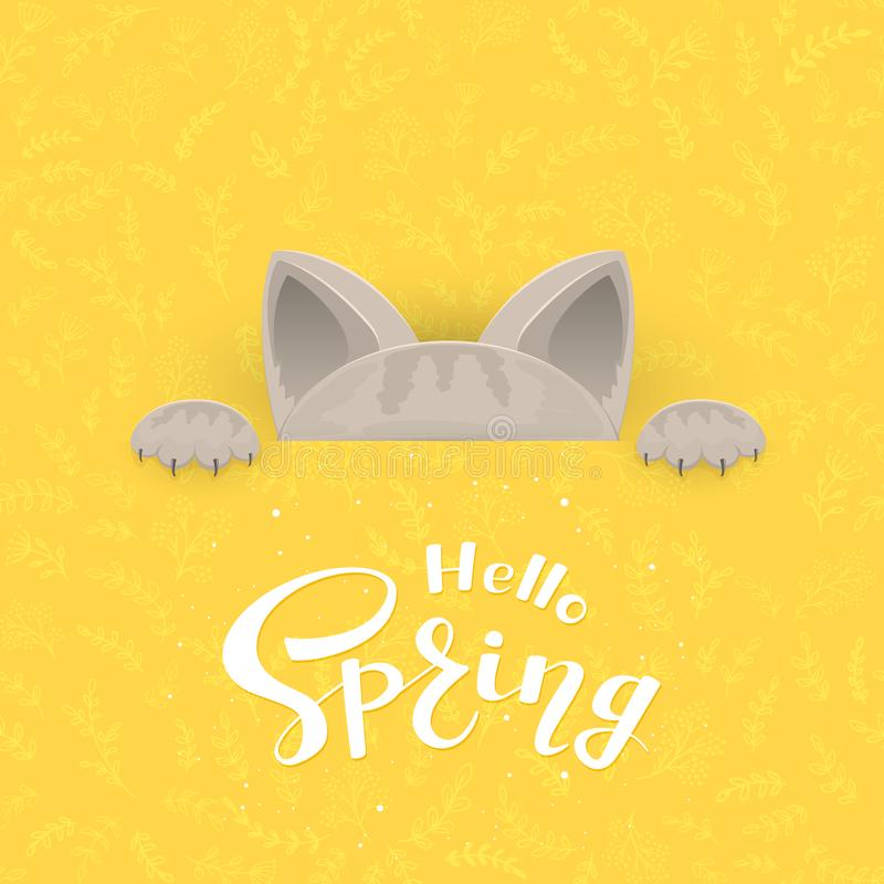 Cat and text Spring. Cat behind the banner and text Hello Spring on yellow background with floral pattern, illustration stock illustration