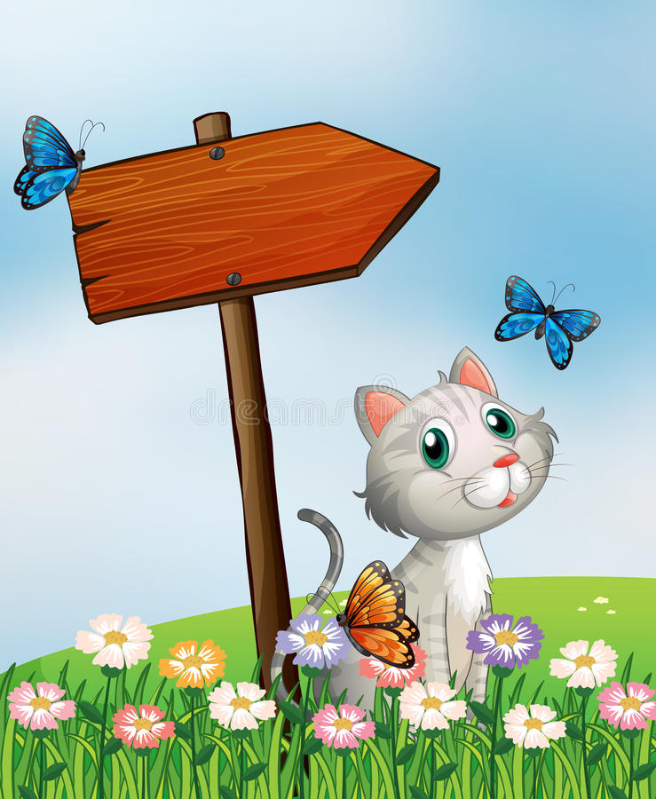 A cat with three butterflies beside the wooden arrow board royalty free illustration