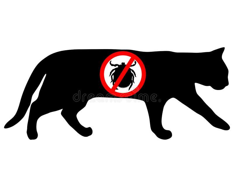 Cat tick prohibited vector illustration