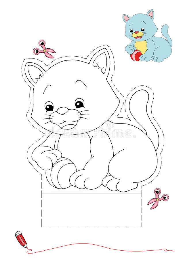 Cat to be color and to cut out royalty free stock photos