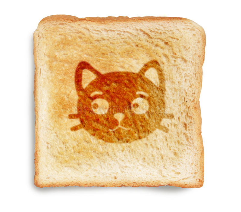 Cat on toasted bread. Cat burn mark on toasted bread isolated on white background royalty free stock image