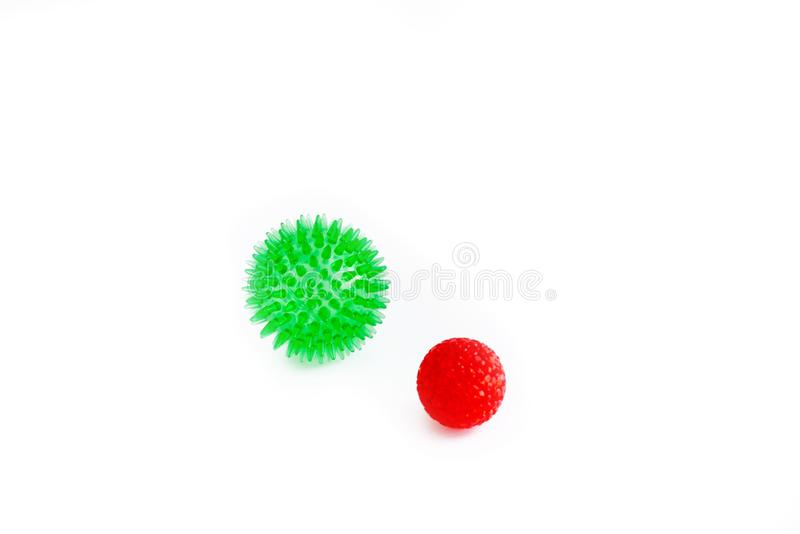 Cat toys isolated, red and green balls. Cat toys isolated, red and freen balls. ball cat toy Isolated on white background royalty free stock images