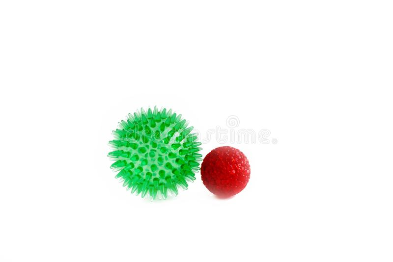 Cat toys isolated, red and green balls. Ball cat toy Isolated on white background stock images