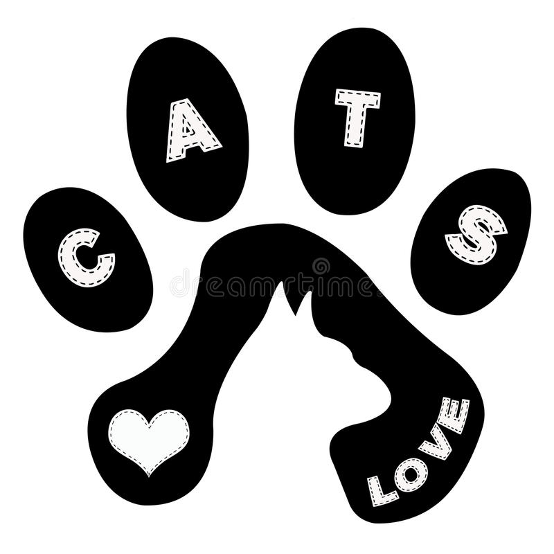 Cat and tracks royalty free illustration
