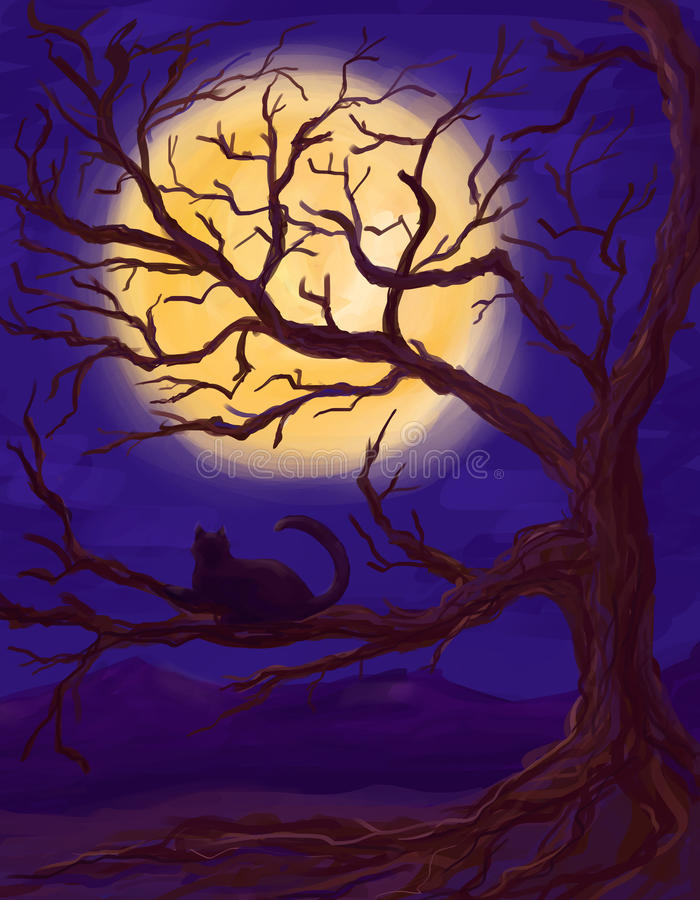 Cat, tree and moon. Black cat lie on the branch and look at moon royalty free illustration