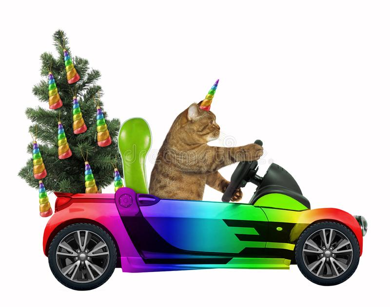Cat unicorn carries a Christmas tree royalty free stock image