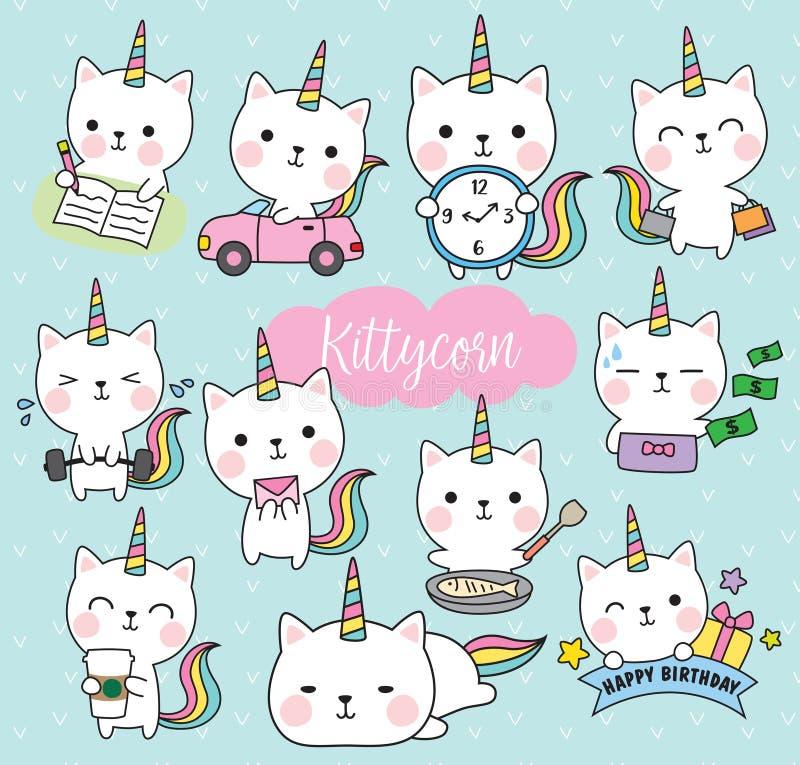 Cat Unicorn Life Activity Planner Vector Illustration stock illustration