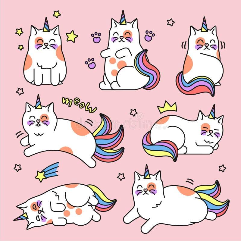 Cat unicorn set vector illustration