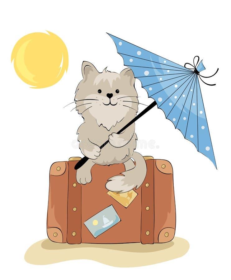 Download Cat in the vacation stock vector. Image of traveler, umbrella - 24267818