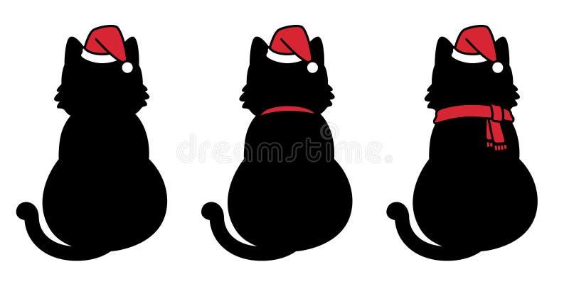 Cat vector Christmas Santa claus hat Xmas icon kitten calico logo cartoon character illustration doodle black. Cute royalty free illustration