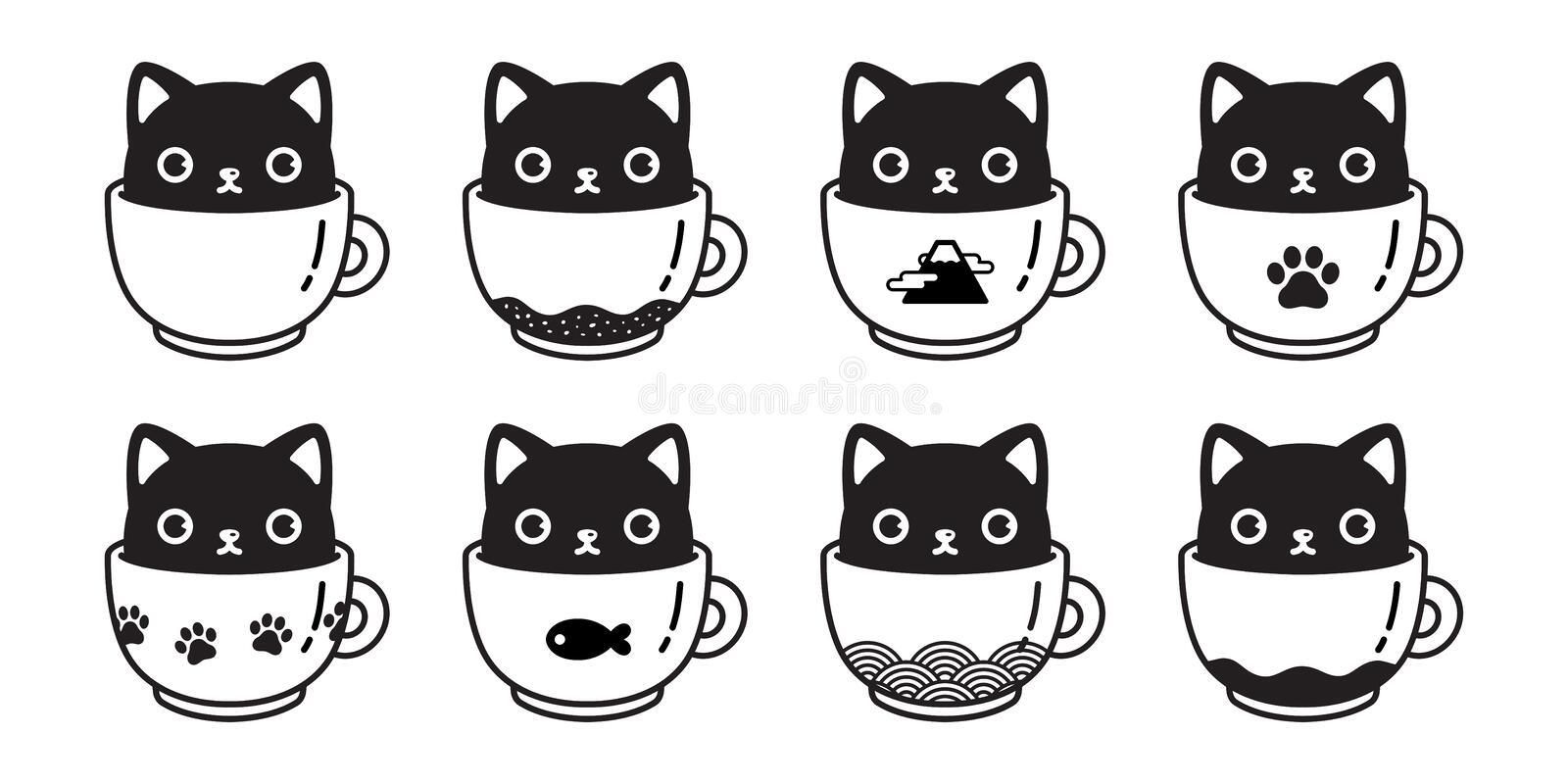Cat vector icon kitten coffee cup paw calico logo fish symbol cartoon character illustration doodle design vector illustration