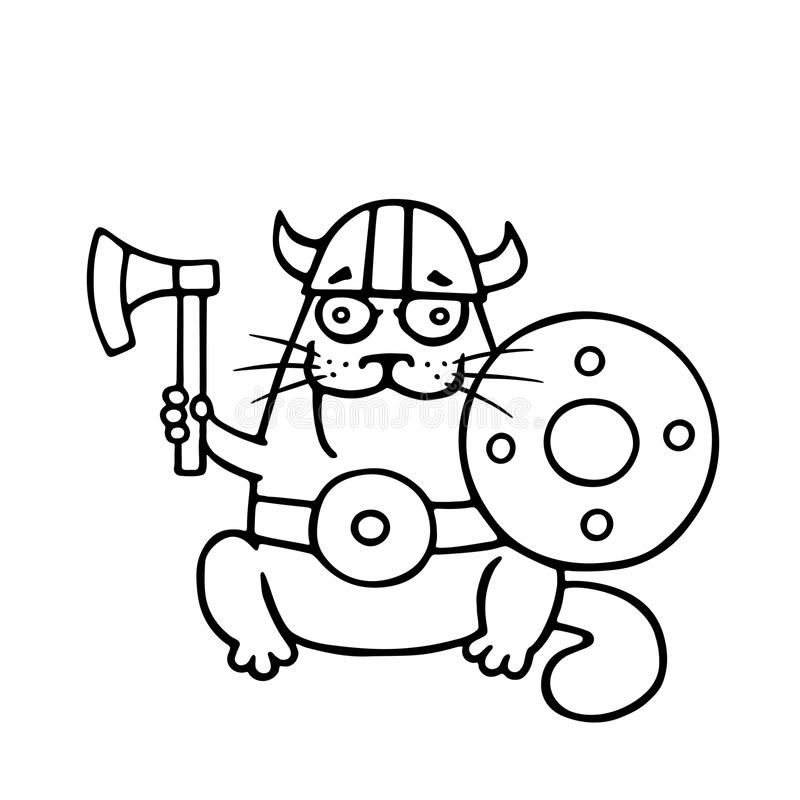 Cat viking with an ax and shield. Vector illustration. vector illustration