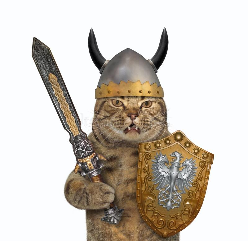 Cat viking with a big sword 3 stock images