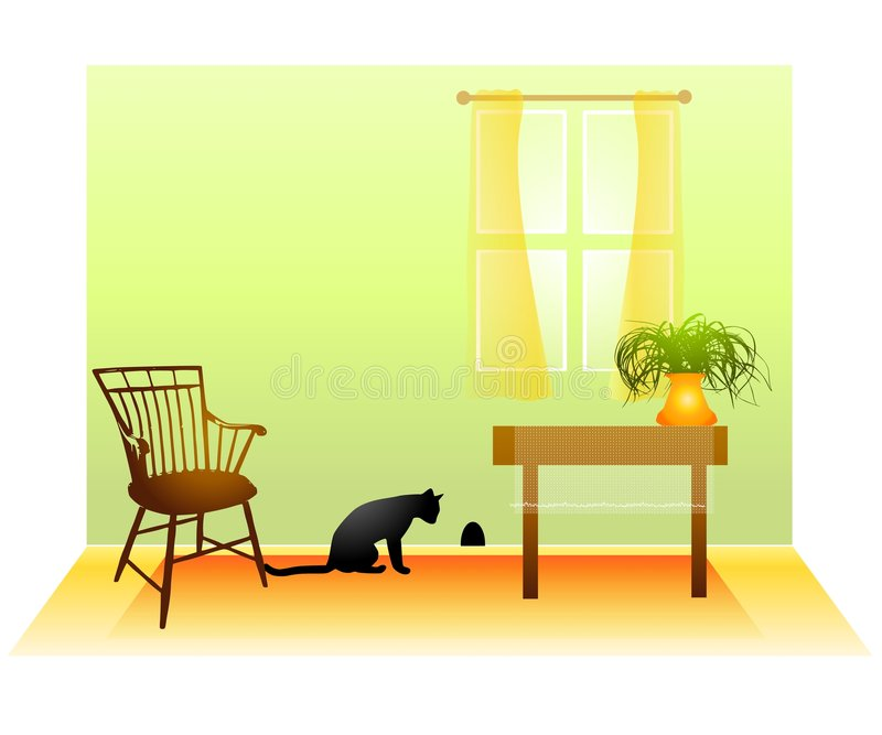 Download Cat Waiting For Mouse In Wall Stock Illustration - Image: 4504487