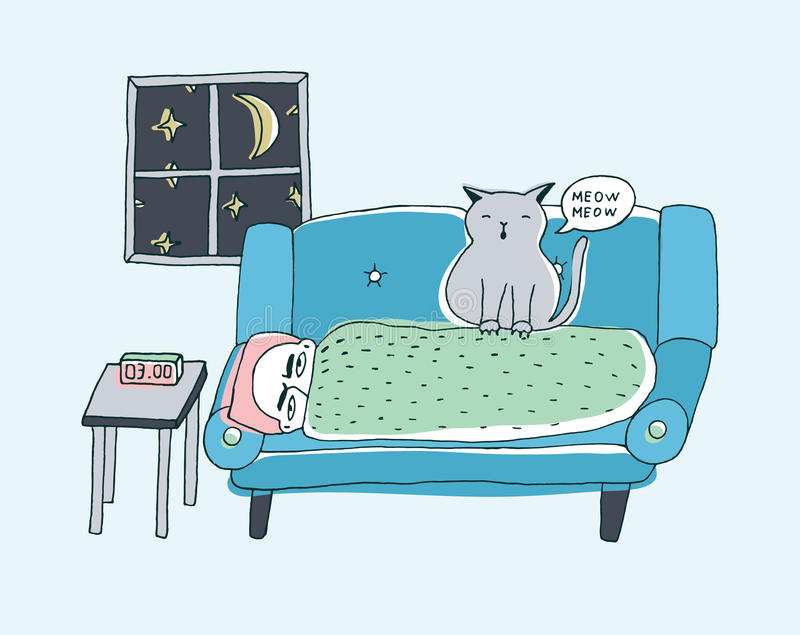 The cat wakes the owner, meowing at night. Cute hand drawn doodle illustration. The cat wakes the owner, meowing at night, Cute hand drawn doodle illustration stock illustration