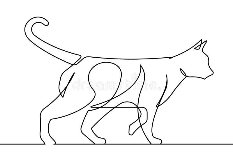 Cat Walking Continuous Line Vector-Illustration lizenzfreie abbildung