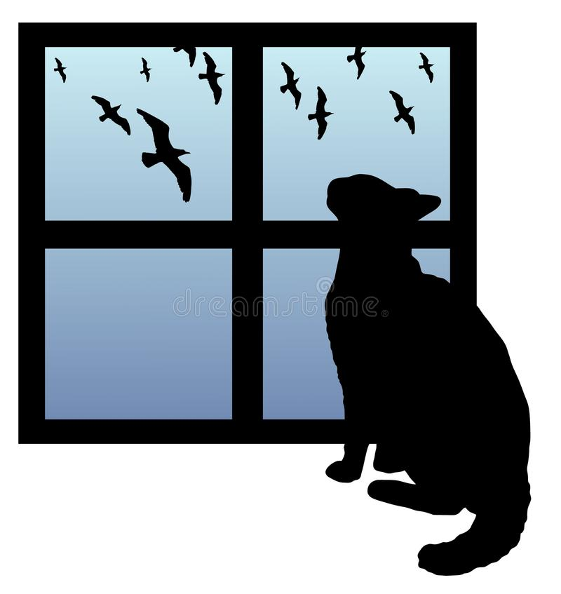 Cat watching birds. Illustration of a cat watching birds through a window vector illustration