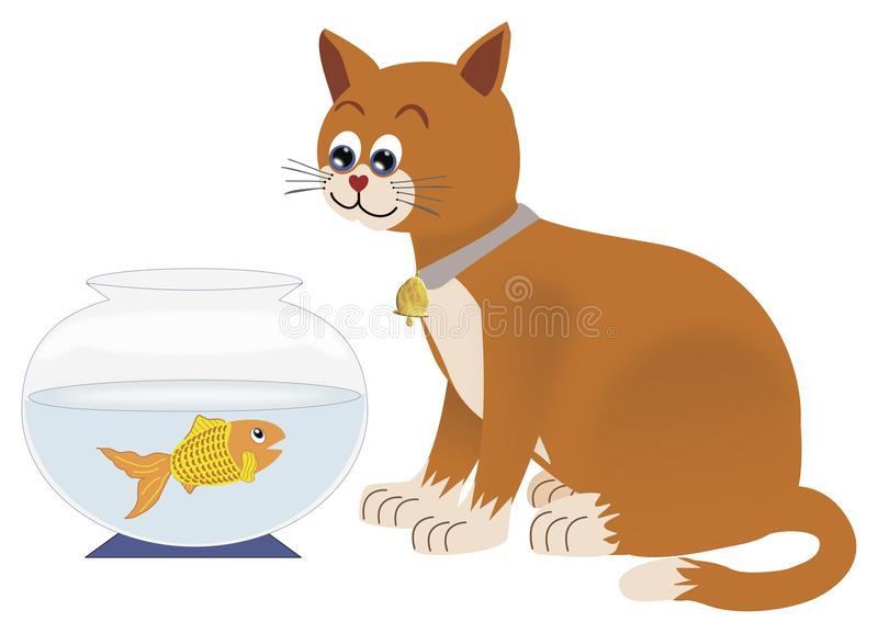Cat watching goldfish in bowl. A cartoon illustration of a cat sitting by a goldfish bowl watching the fish who is looking up at him stock illustration