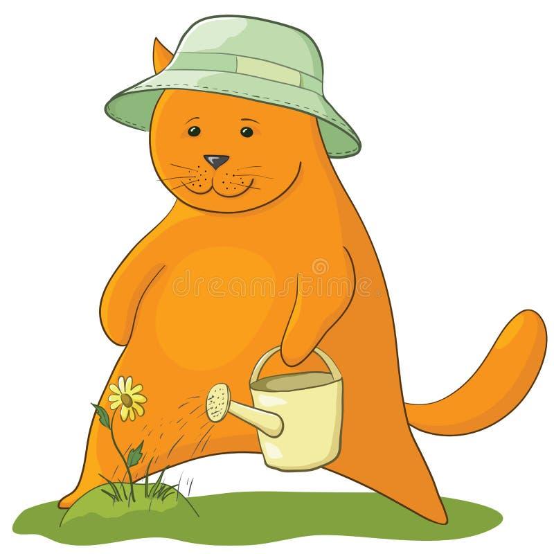 Download Cat watering a flower stock vector. Image of cartoon - 20989834