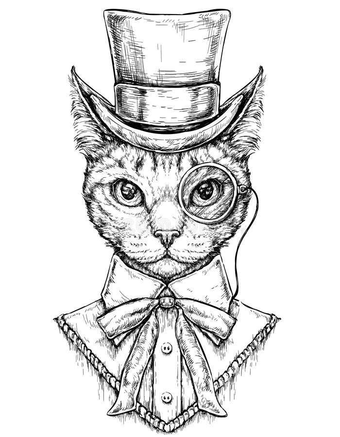 Cat wearing cylinder top hat and monocle. Hipster style hand drawn vector illustration. Isolated on white background royalty free illustration