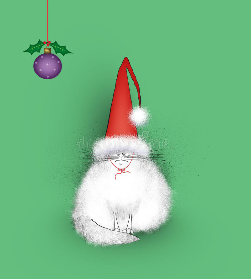 Cat Wearing enojada Santa Hat gigante libre illustration