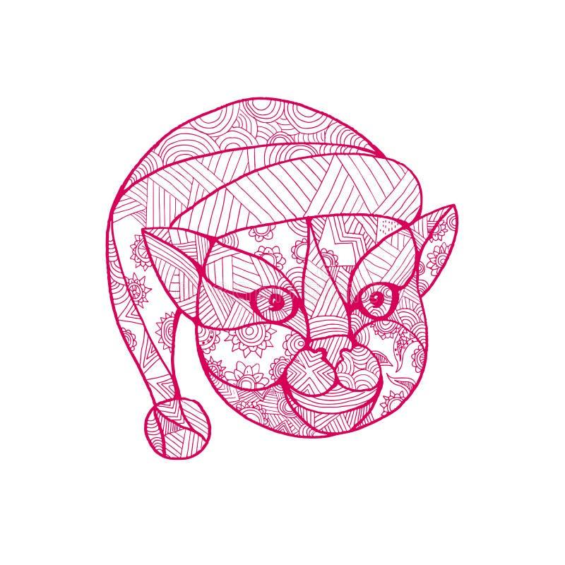 Cat Wearing Santa Hat Mandala royalty free illustration