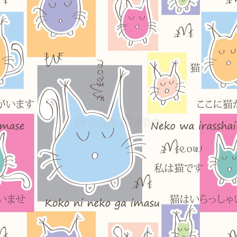 Cat Welcome Seamless Pattern royalty-vrije illustratie