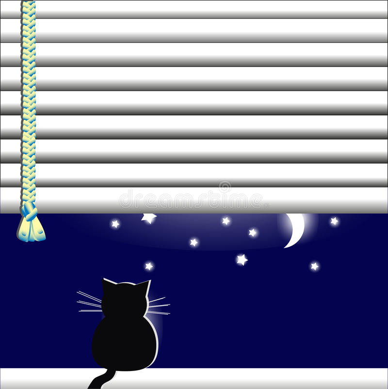 The Cat in the window looking at the moon and stars. Cat in the window looking at the moon and stars vector illustration