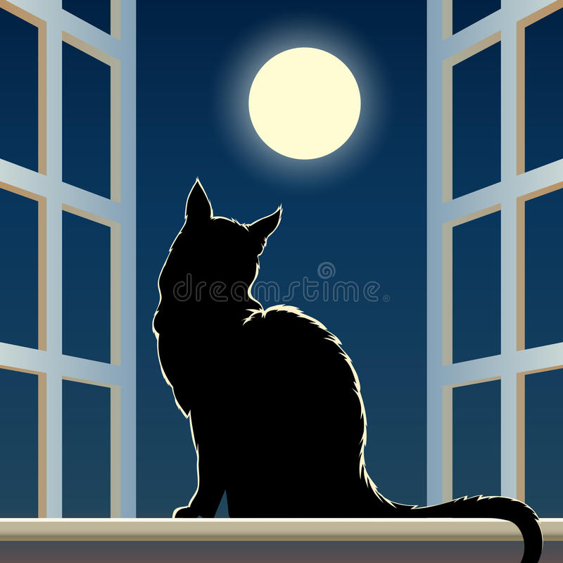 Download Cat on a window sill stock vector. Image of black, posing - 43276524
