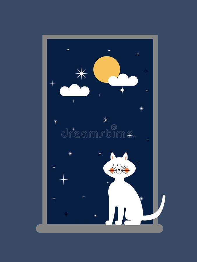 Cat on the window vector illustration