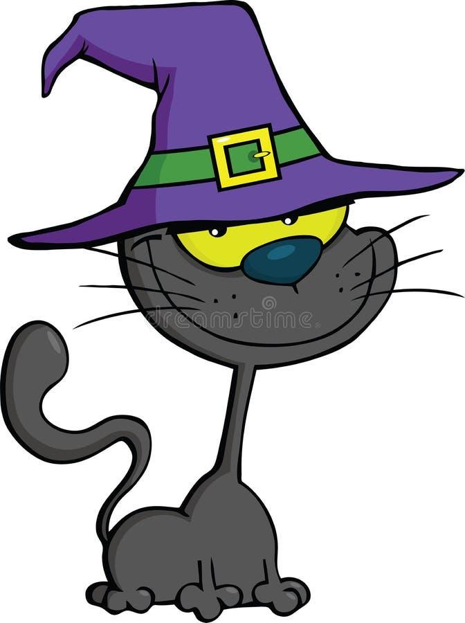 Cat With Witch Hat Cartoon-Illustration lizenzfreie abbildung