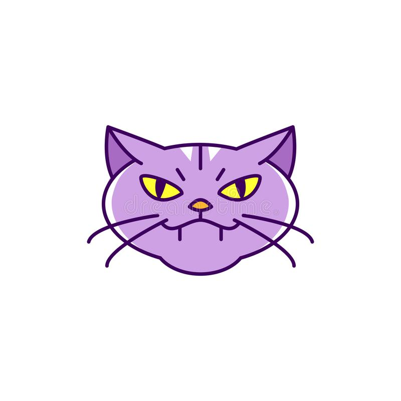 Cat witch icon, Angry cat. Colorful flat Halloween cat icon, Thin line art design, Vector illustration vector illustration