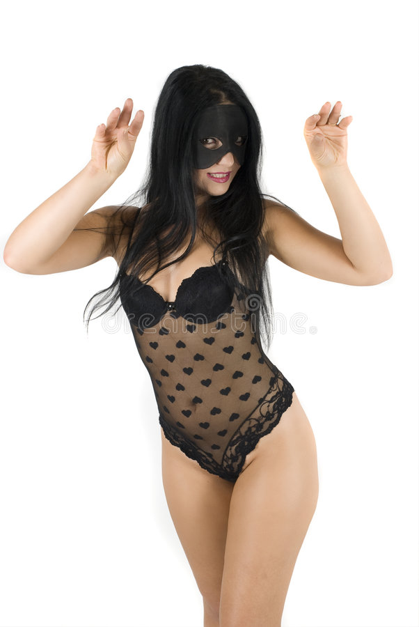 Download Cat woman stock photo. Image of person, black, mask, lace - 6910912