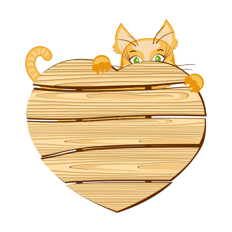 Cat With A Wooden Signboard In The Shape Of Heart Stock Photography