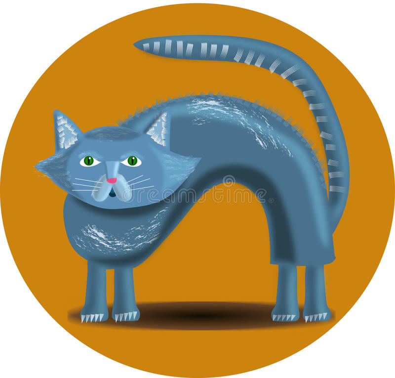 Cat in yellow circle royalty free stock images