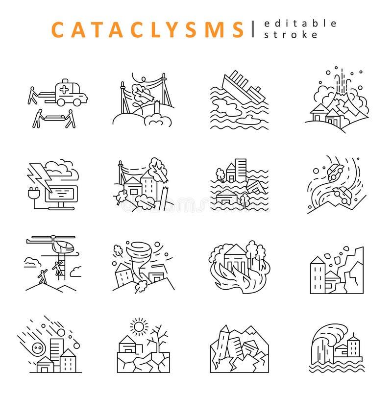 Cataclismos e catástrofes naturais Ícone e logotipo do vetor Tamanho editável do curso do esboço Linha contorno liso ilustração do vetor