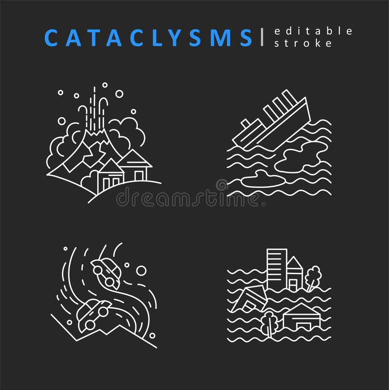 Cataclysms and natural disasters. Vector icon and logo. Editable outline stroke size. Line flat contour. Thin and linear design. Simple icons. Concept stock illustration