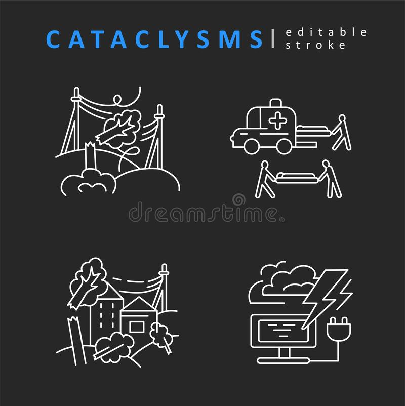 Cataclysms and natural disasters. Vector icon and logo. Editable outline stroke size. Line flat contour. Thin and linear design. Simple icons. Concept royalty free illustration