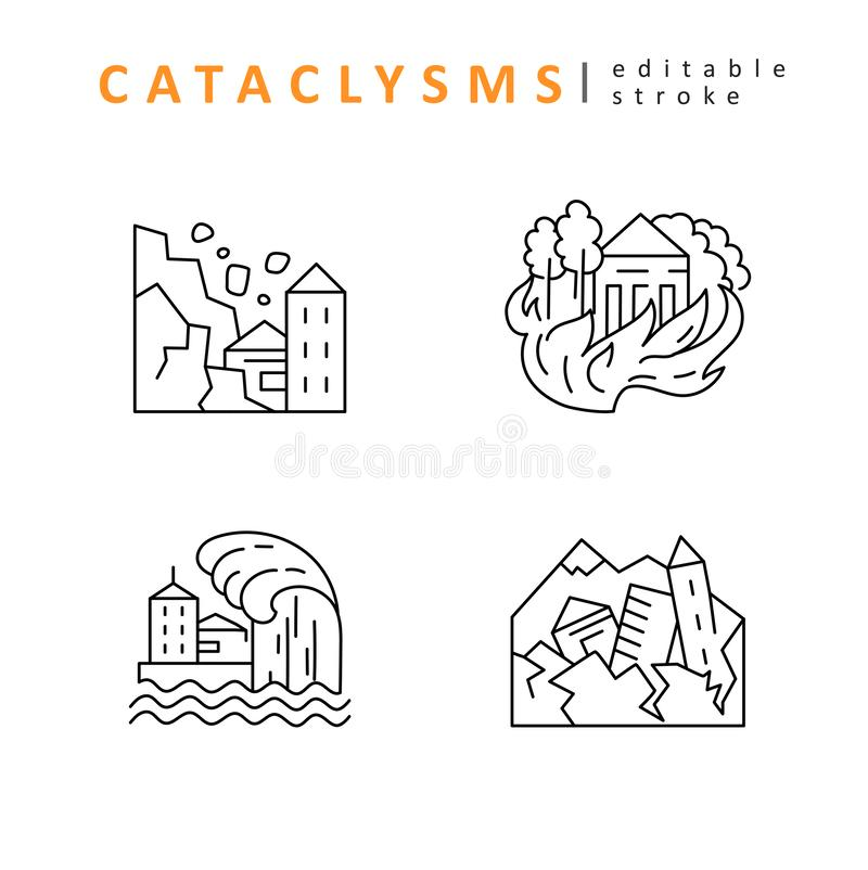 Cataclysms and natural disasters. Vector icon and logo. Editable outline stroke size. Line flat contour. Thin and linear design. Simple icons. Concept vector illustration