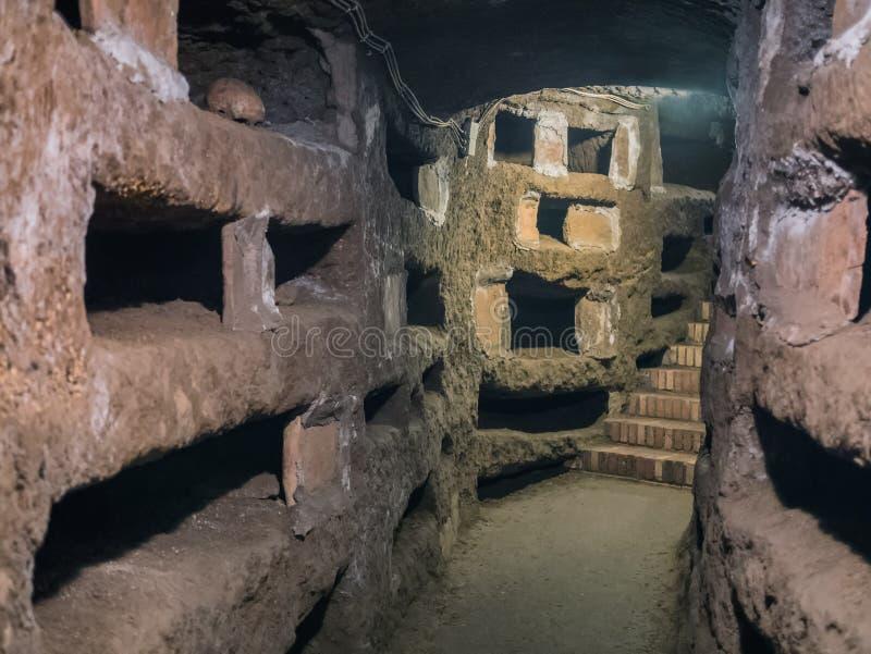 Catacombe di San Pancrazio sous la basilique dans Trastevere, ROM photos libres de droits