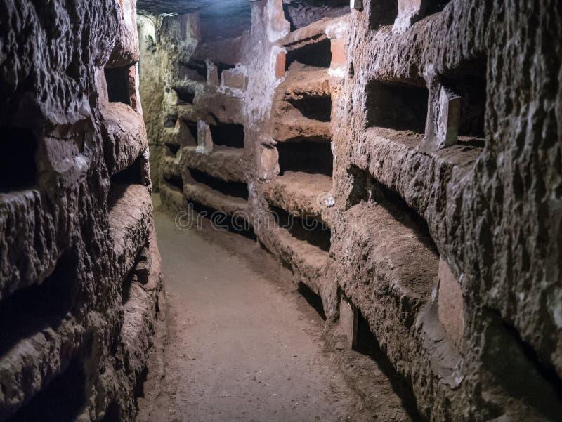 Catacombe di San Pancrazio unter der Basilika in Trastevere, ROM stockbilder