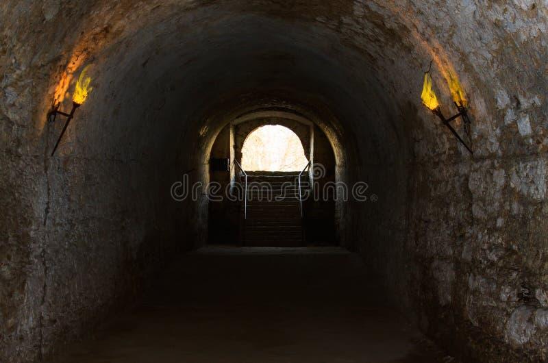 Catacomben Van De Oude Kasteel Verlichte Toortsen Stock Afbeeldingen