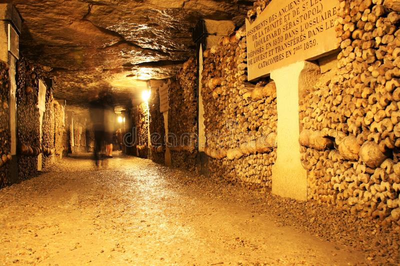 Catacombs of Paris. Underground ossuaries in Paris, the capital of France. Ossuaries hold the remains of about six million people and fill a renovated section royalty free stock images
