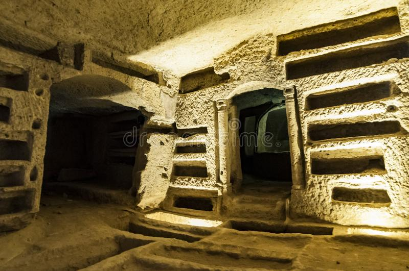 Catacombs of San Gennaro in Naples, Italy stock photography
