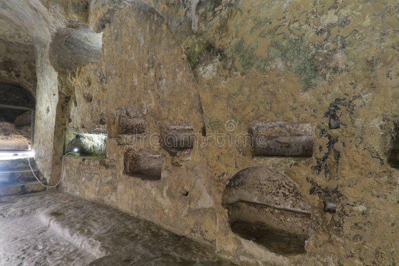 Catacumbas detalhe do interior de St Paul, Malta imagem de stock royalty free