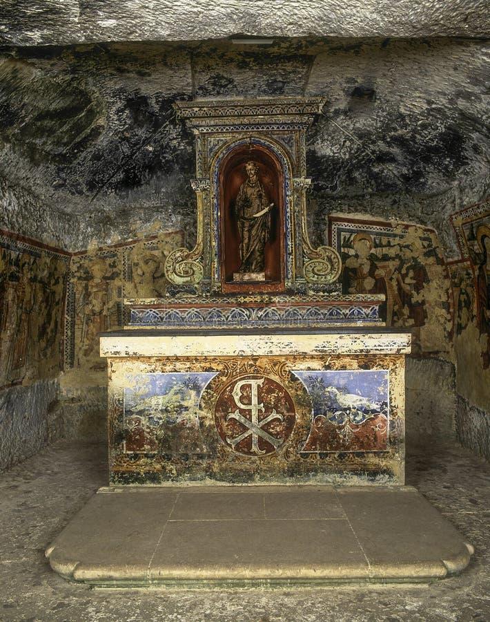 Catacumbas do ` s do St Agatha, Malta fotos de stock