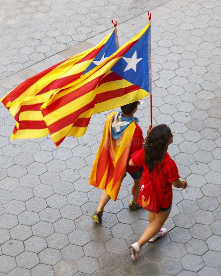 Catalaanse Nationale Dag 2014 stock afbeeldingen