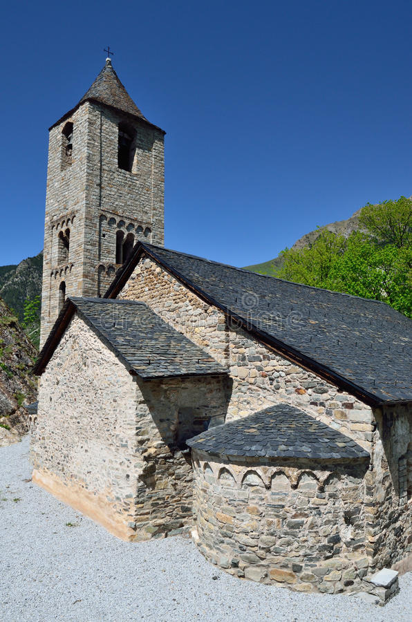 Catalaanse Romaanse kerk van vall DE Boi stock foto